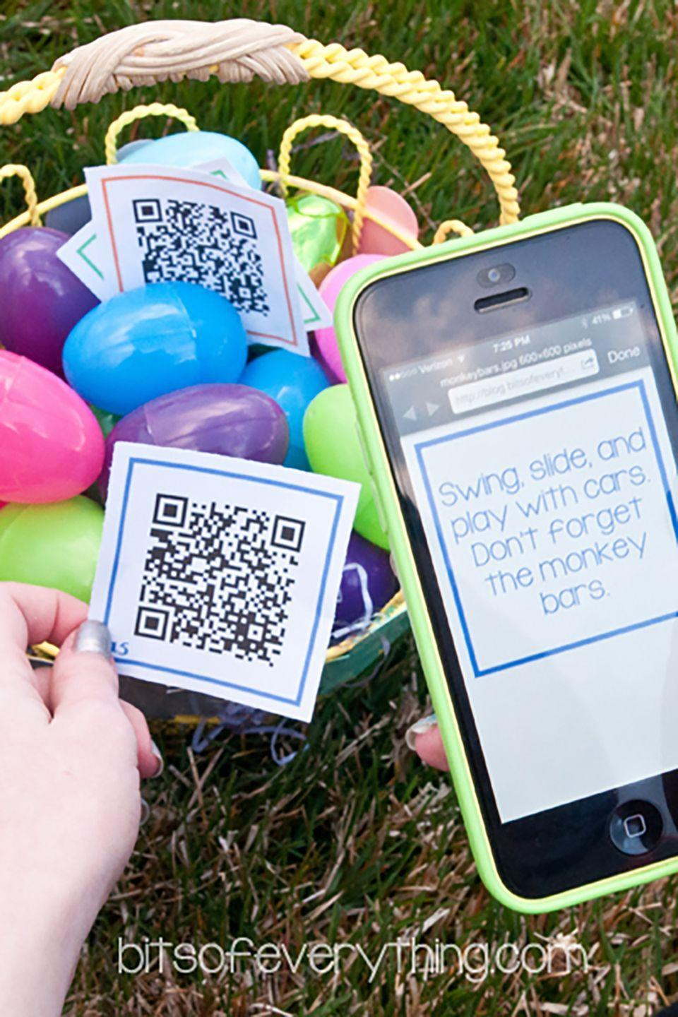 """<p>Here's an easy way to get teens with cell phones interested in egg hunting: Simply print out and attach QR codes, which gives them a clue to the next egg's location.</p><p><strong>Get the tutorial at <a href=""""http://blog.bitsofeverything.com/2014/04/smart-phone-easter-egg-hunt-older-kids.html/2"""" rel=""""nofollow noopener"""" target=""""_blank"""" data-ylk=""""slk:Bits Of Everything"""" class=""""link rapid-noclick-resp"""">Bits Of Everything</a>. </strong></p><p><a class=""""link rapid-noclick-resp"""" href=""""https://www.amazon.com/Plastic-Easter-order-Assorted-Colors/dp/B00362OPP0/ref=sr_1_2?dchild=1&keywords=easter+eggs&qid=1614113632&sr=8-2&tag=syn-yahoo-20&ascsubtag=%5Bartid%7C10050.g.4083%5Bsrc%7Cyahoo-us"""" rel=""""nofollow noopener"""" target=""""_blank"""" data-ylk=""""slk:SHOP EASTER EGGS"""">SHOP EASTER EGGS </a></p>"""