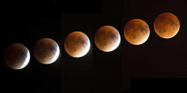 PHOTO: A multi-exposure image of a blood and supermoon is seen across Canada with clear skies in Montreal on the night of Sept. 27, 2015. Astronomers claimed a blood moon would return in 33 years (Xinhua News Agency/Getty Images FILE)