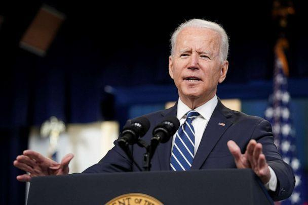 PHOTO:  President Joe Biden delivers remarks on the June jobs report in the Eisenhower Executive Office Building in Washington, D.C., July 2, 2021. Biden answered questions on the withdrawal of U.S. troops from Afghanistan. (Kevin Lamarque/Reuters)
