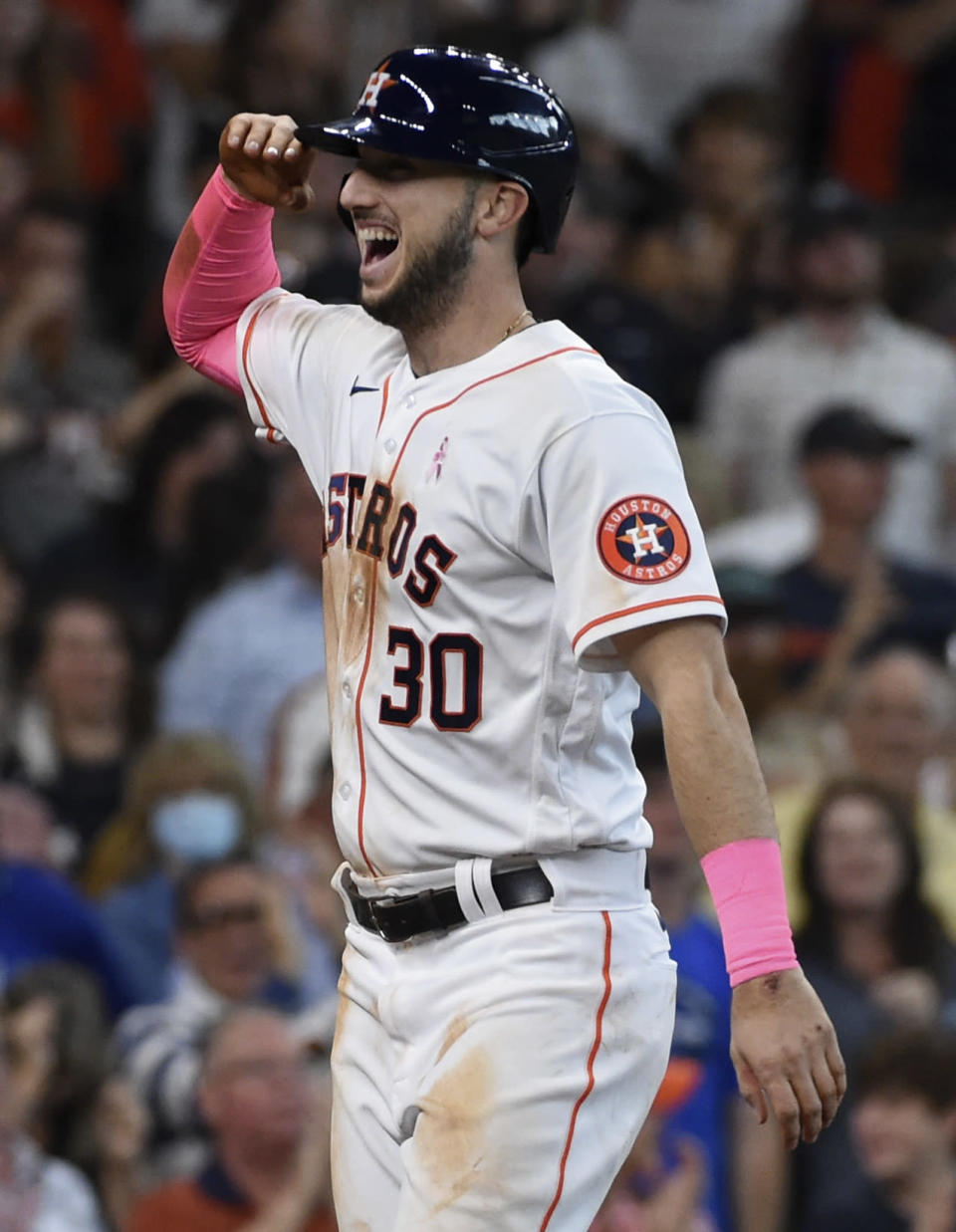 Houston Astros' Kyle Tucker celebrates his three-run home run during the fourth inning of a baseball game against the Toronto Blue Jays, Sunday, May 9, 2021, in Houston. (AP Photo/Eric Christian Smith)
