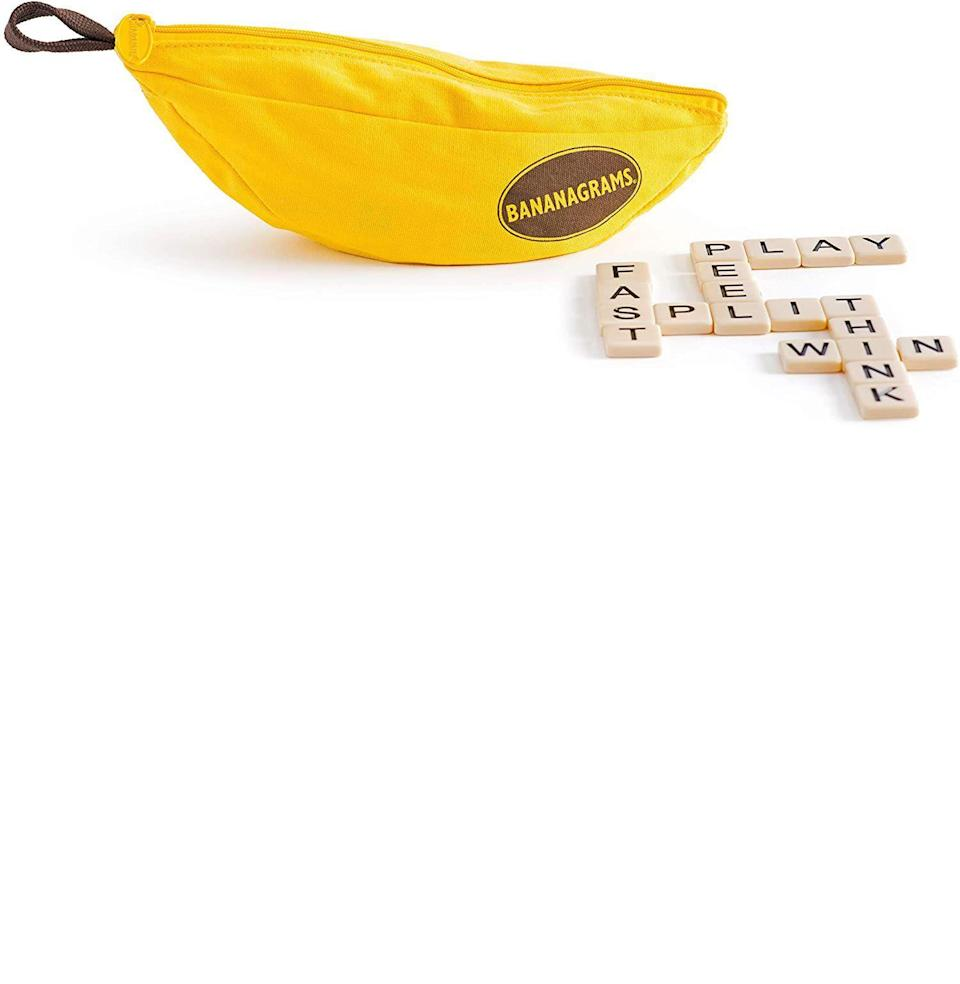 "<p><strong>Bananagrams</strong></p><p>amazon.com</p><p><strong>$14.99</strong></p><p><a href=""https://www.amazon.com/Bananagrams-BAN001/dp/1932188126/?tag=syn-yahoo-20&ascsubtag=%5Bartid%7C10063.g.35003913%5Bsrc%7Cyahoo-us"" rel=""nofollow noopener"" target=""_blank"" data-ylk=""slk:Buy"" class=""link rapid-noclick-resp"">Buy</a></p><p>Bananagrams is like Scrabble but against yourself, and you don't have to awkwardly spin the board and/or try to read upside down at all. The object is to build words and use up all your letters the quickest—it's fun, fast, very portable (not that you have anywhere to go!), technically educational, and suitable for just about anyone. A warning: It brings out the absolute worst in competitive people. <em>—L.K.</em></p>"