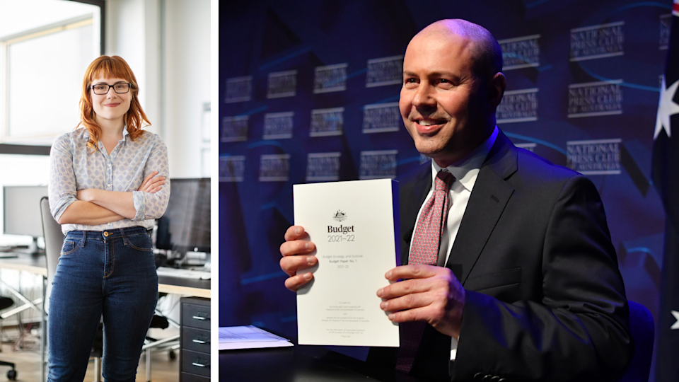 A young professional woman stands with her arms crossed nd Josh Frydenberg holds up 2021 Federal Budget.