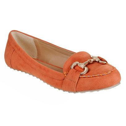 Orange suede buckle loafer by BHS: Flat Shoes for the Weekend