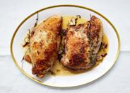 """Bone-in turkey breasts are easy to find, and as impressive as a whole bird when you roast them in butter and herbs. Keep in mind: For optimal moistness, you will want to cook the white meat of the turkey breasts to a lower temperature than you would if cooking the whole bird <a href=""""https://www.bonappetit.com/recipe/butter-roasted-turkey-breasts?mbid=synd_yahoo_rss"""" rel=""""nofollow noopener"""" target=""""_blank"""" data-ylk=""""slk:See recipe."""" class=""""link rapid-noclick-resp"""">See recipe.</a>"""