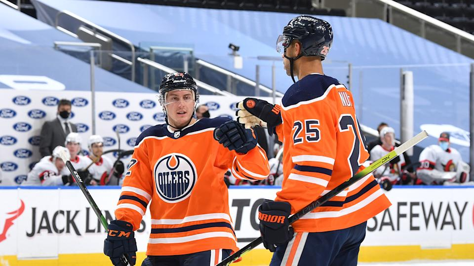 Tyson Barrie and Darnell Nurse gave the Oilers some much-needed secondary scoring on Sunday against the Senators. (Photo by Andy Devlin/NHLI via Getty Images)