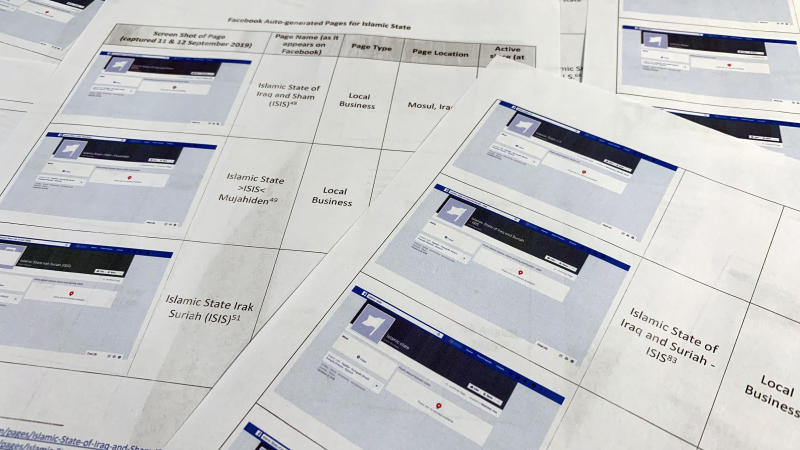 Pages from a confidential whistleblower's report obtained by The Associated Press, are photographed in Washington, on Tuesday, Sept. 17, 2019. Facebook likes to say that its automated systems remove the vast majority of prohibited content glorifying the Islamic State group and al-Qaida before it's reported. But a whistleblower's complaint shows that Facebook itself has inadvertently produced dozens of pages in their names.  (AP Photo/Jon Elswick)