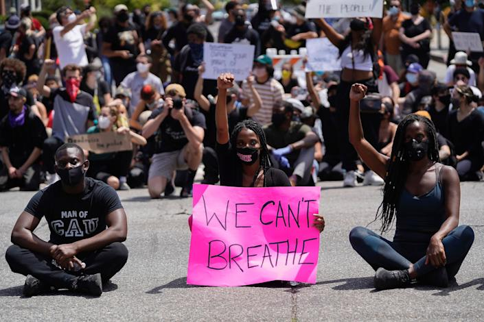 Protesters in Los Angeles.