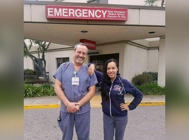 PHOTO: Rosario Salazar, an emergency room nurse poses for a photo with her husband, Stephen Kishineff, an ER doctor. Both have been working throughout the COVID-19 pandemic. (Courtesy Rosario Salazar)