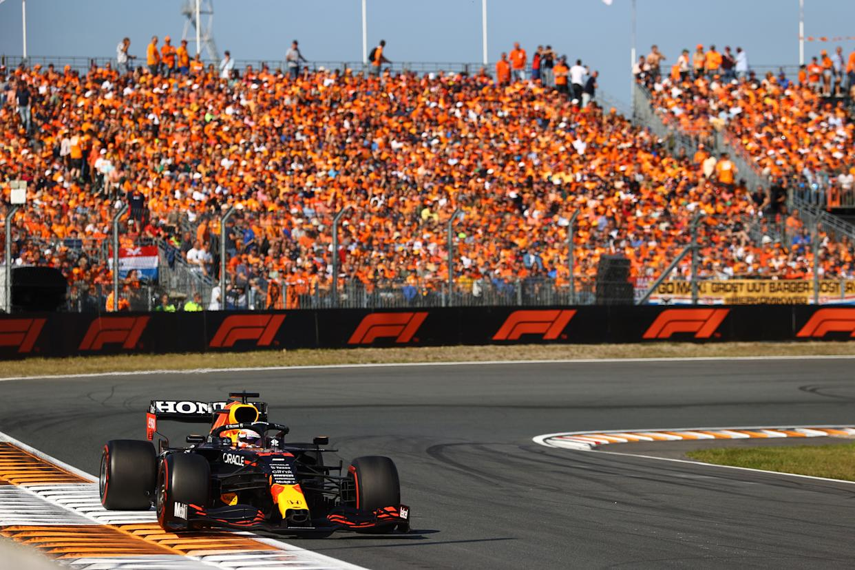 Max Verstappen driving the Red Bull Racing RB16B Honda during the F1 Grand Prix of The Netherlands.