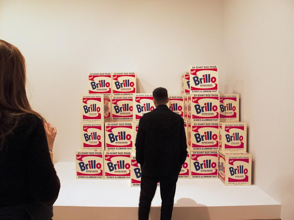 "<h1 class=""title"">Andy Warhol From A To B At The Whitney-People Looking At Brillo Boxes</h1> <div class=""caption""> Andy Warhol's famous Brillo boxes. </div> <cite class=""credit"">Photo: Santi Visalli/Getty Images</cite>"