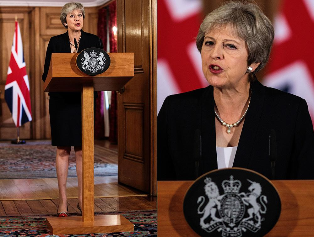 Talking tough: The PM gives her surprise Brexit address from Downing St on Friday afternoon. (PA)