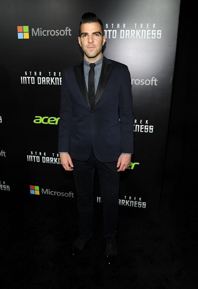 "NEW YORK, NY - MAY 09:  Zachary Quinto attends the ""Star Trek Into Darkness"" New York Special Screening at AMC Loews Lincoln Square on May 9, 2013 in New York City.  (Photo by Craig Barritt/Getty Images)"