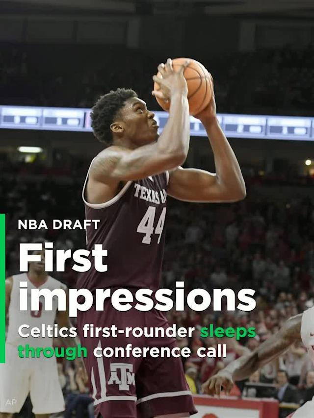 The Celtics first-round pick Robert Williams had to have his introductory conference call with the media postponed an hour, and he didn't hide the reason for the delay when was finally on the phone with the reporters.