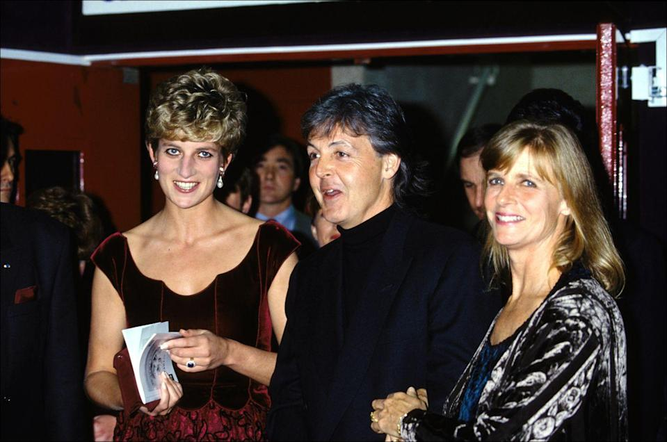 <p>The Beatles singer wore an all-black outfit at an event in Lille, France, while his wife, Linda, and Diana both wore crushed velvet dresses. </p>
