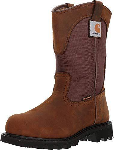 """<p><strong>Carhartt</strong></p><p>amazon.com</p><p><a href=""""https://www.amazon.com/dp/B007T1XZKA?tag=syn-yahoo-20&ascsubtag=%5Bartid%7C2164.g.34010656%5Bsrc%7Cyahoo-us"""" rel=""""nofollow noopener"""" target=""""_blank"""" data-ylk=""""slk:Shop Now"""" class=""""link rapid-noclick-resp"""">Shop Now</a></p><p>Like Muck Boots, Carhartt is another brand that's popular among ranch and farm workers. These have a waterproof interior, while their sturdy rubber outsole is oil-, chemical-, and slip-resistant.</p>"""