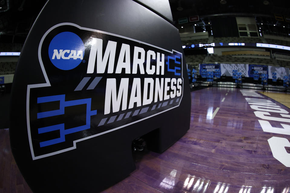 The NCAA March Madness logo is seen on the basket stanchion before a game between Oral Roberts and Florida in the second round on March 21. (Maddie Meyer/Getty Images)