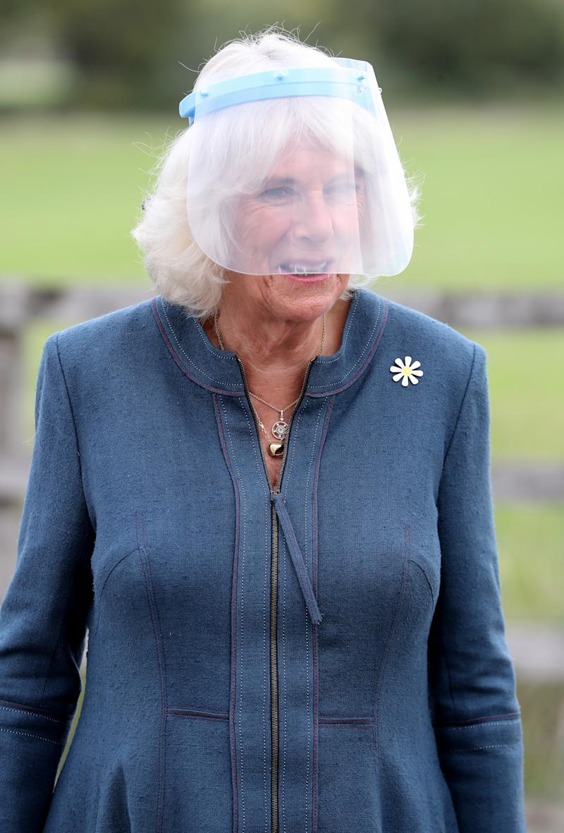 MILTON KEYNES, ENGLAND - SEPTEMBER 09: Camilla, Duchess of Cornwall, Patron of Medical Detection Dogs, wears a visor during a visit to the charity's training centre where trials are currently underway to determine whether dogs can act as a diagnostic tool of COVID-19 on September 09, 2020 in Milton Keynes, England. (Photo by Chris Jackson - WPA Pool/Getty Images)