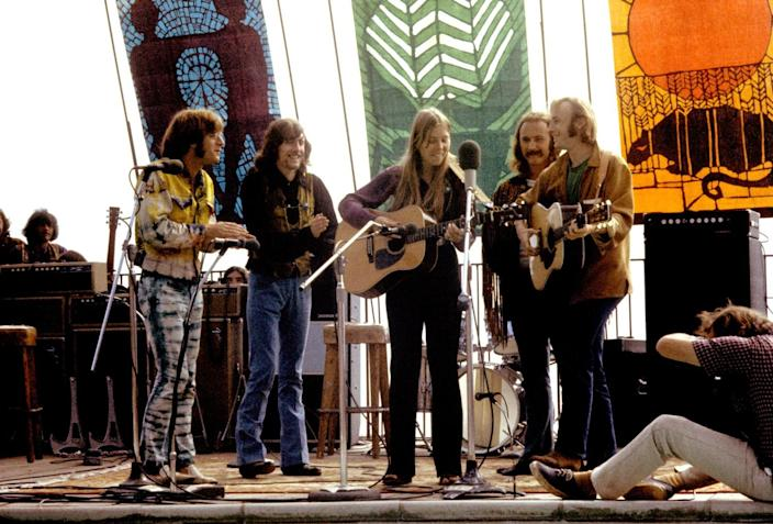 John Sebastian, Graham Nash, Joni Mitchell, David Crosby and Stephen Stills