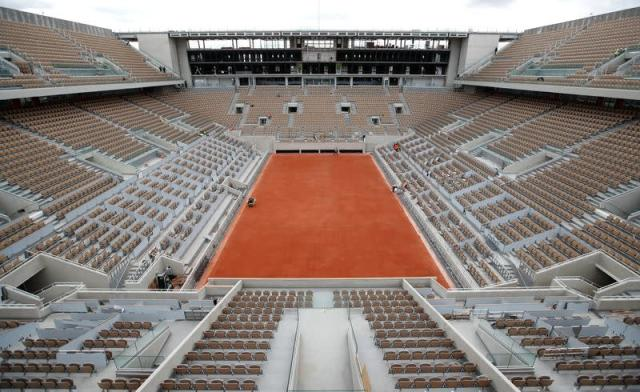 A general view shows the renovated Philippe Chatrier central court at Roland Garros in Paris