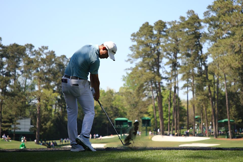 Collin Morikawa plays his shot from the 16th tee during a practice round prior to the Masters at Augusta National Golf Club on April 06, 2021 in Augusta, Georgia.