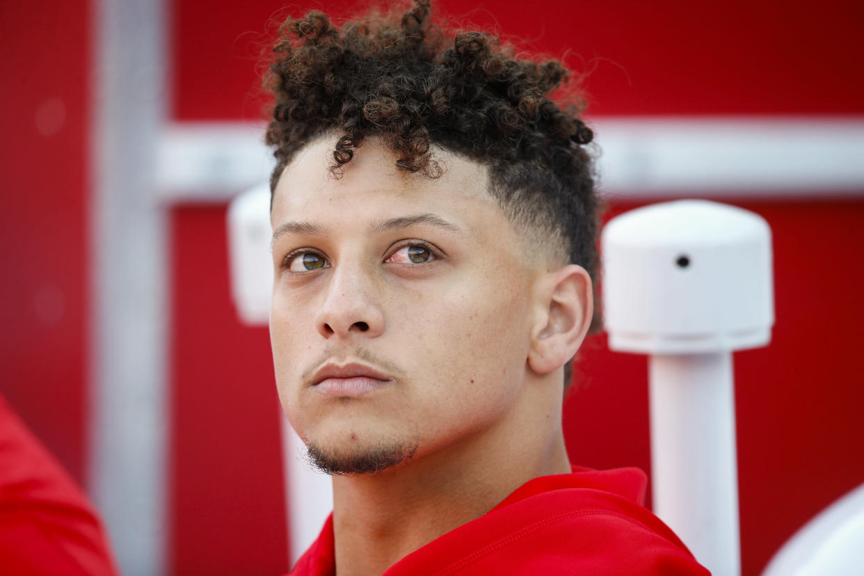 Patrick Mahomes' girlfriend said that her stepfather collapsed outside of Arrowhead Stadium Sunday and died. (Getty)