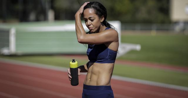 Team GB heptathlete Katarina Johnson-Thompson takes a break during a workou