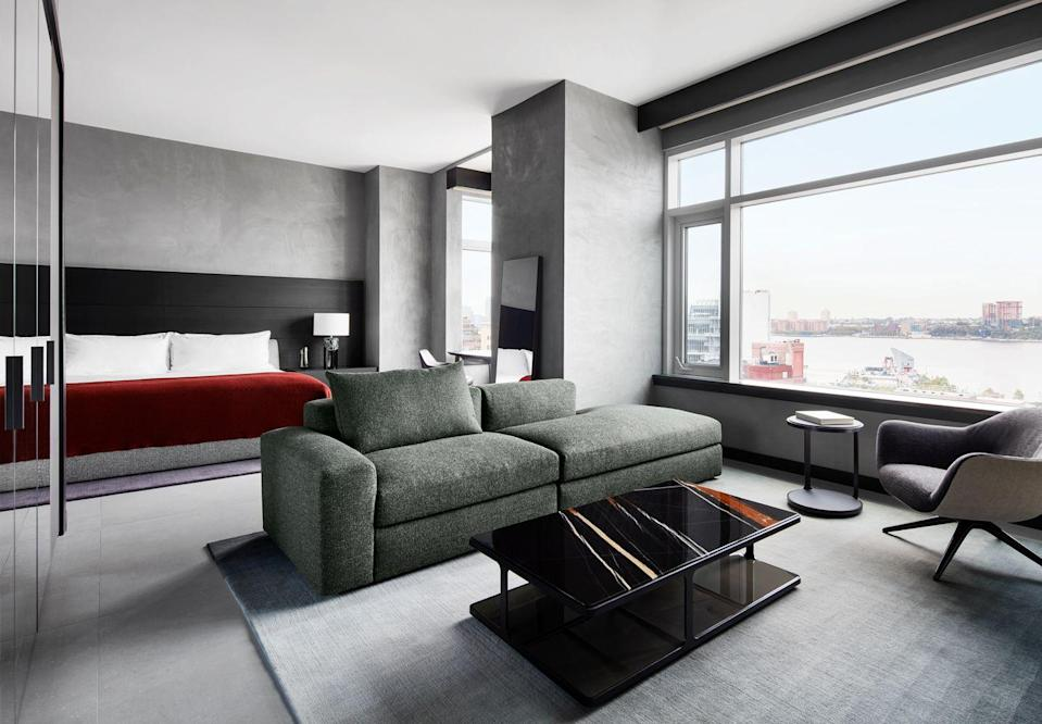 """<p>Perhaps there's no better view of the once-again buzzing Meatpacking District than from the Penthouse suite at the newly renovated <a href=""""https://www.gansevoorthotelgroup.com/"""" rel=""""nofollow noopener"""" target=""""_blank"""" data-ylk=""""slk:Gansevoort Hotel"""" class=""""link rapid-noclick-resp"""">Gansevoort Hotel</a>. A collaboration with <a href=""""https://www.poliform.it/en-us/poliform"""" rel=""""nofollow noopener"""" target=""""_blank"""" data-ylk=""""slk:Poliform"""" class=""""link rapid-noclick-resp"""">Poliform</a>, the suite includes a whopping 1,700-square-foot duplex, 20-foot floor-to-ceiling windows, and of course ultraluxe furnishings from the Italian furniture company. Like what you see? The suite's features are shoppable to any guest who inquires. The 186 guest rooms and and lobby were also renovated by Michael Achenbaum, Oliver Wepp, and Duncan Miller Design. </p><p><a class=""""link rapid-noclick-resp"""" href=""""https://go.redirectingat.com?id=74968X1596630&url=https%3A%2F%2Fwww.tripadvisor.com%2FHotel_Review-g60763-d287626-Reviews-Gansevoort_Meatpacking_NYC-New_York_City_New_York.html&sref=https%3A%2F%2Fwww.elledecor.com%2Flife-culture%2Ftravel%2Fg36492996%2Fbest-american-hotels-2021%2F"""" rel=""""nofollow noopener"""" target=""""_blank"""" data-ylk=""""slk:Book Now"""">Book Now </a></p>"""