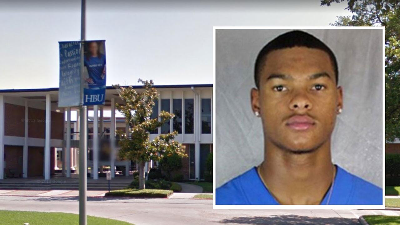 A Houston Baptist University wide receiver is in custody, charged in the alleged sexual assault of a woman at her on-campus apartment.