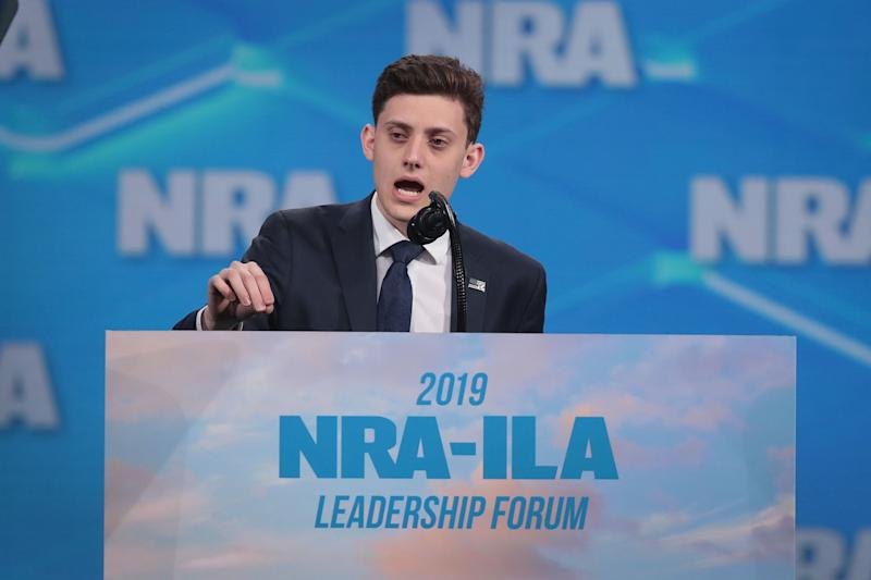 INDIANAPOLIS, INDIANA - APRIL 26: Kyle Kashuv, a Marjory Stoneman Douglas High School student speaks during the NRA-ILA Leadership Forum at the 148th NRA Annual Meetings & Exhibits on April 26, 2019 in Indianapolis, Indiana. The convention, which runs through Sunday, features more than 800 exhibitors and is expected to draw 80,000 guests. (Photo by Scott Olson/Getty Images)
