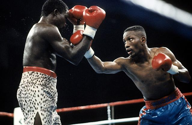 Pernell Whitaker (R) throws a punch against Azumah Nelson during the fight at Caesars Palace, Las Vegas, Nevada. Pernell Whitaker won the WBC lightweight title and IBF lightweight title. (Photo by: The Ring Magazine via Getty Images)