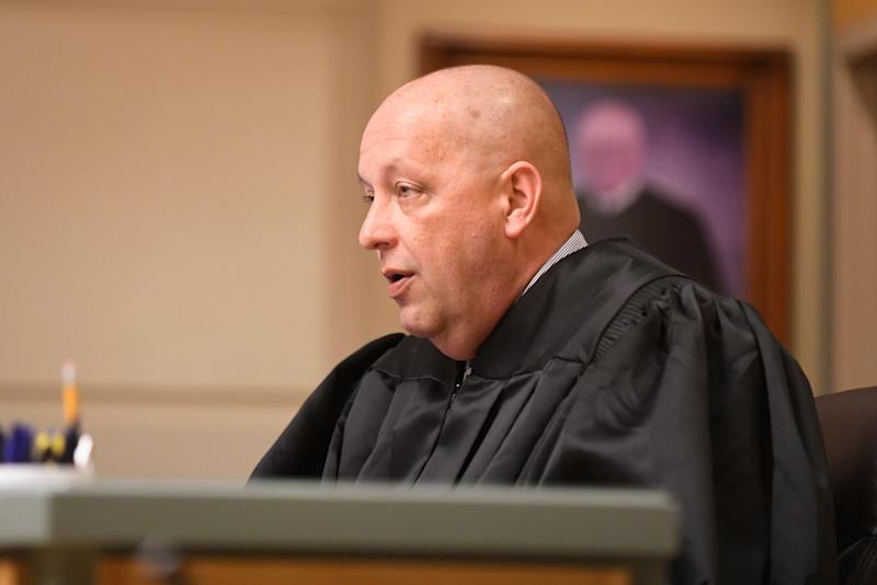Judge Robert Malestein speaks during Ricardo Carrillo-Santiago sentencing in Cumberland County Superior Court on Friday, April 12, 2019.
