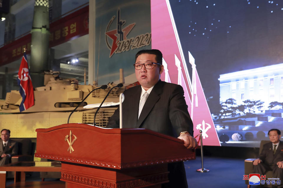 """Kim Jong-un vowed to build an """"invincible"""" military, as he accused the United States of creating regional tensions. Source: Korean Central News Agency/Korea News Service via AP"""
