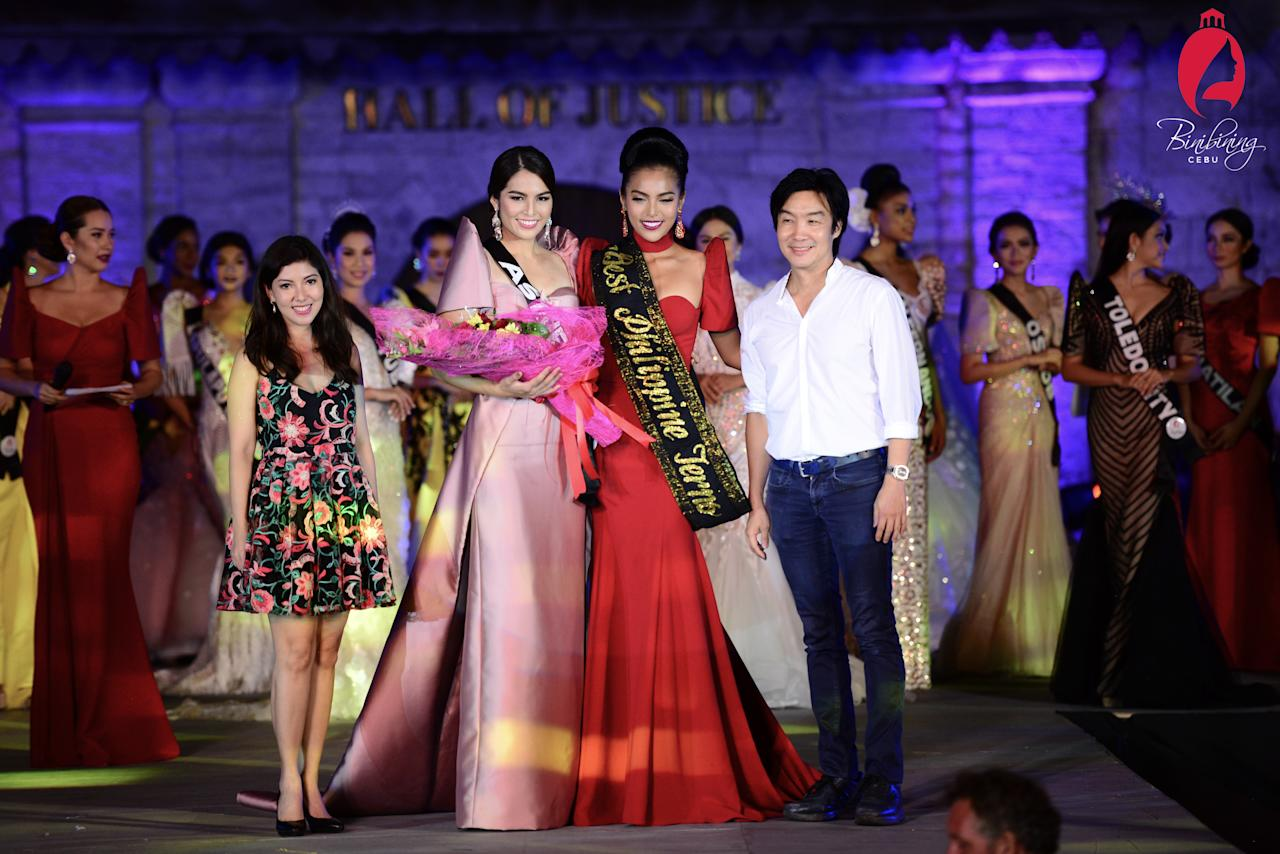 <p>Samantha Ashley Lo (2nd from left) and Maria Gigante (3rd from left) in the Philippine terno competition at Binibining Cebu 2017. (Photo: Sidney Dyguarni/Binibining Cebu) </p>