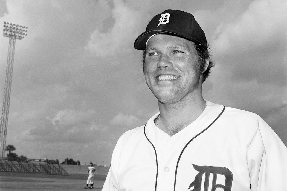 """FILE - Detroit Tigers catcher Bill Freehan is shown Feb. 24, 1975. Freehan, an 11-time All-Star catcher with the Detroit Tigers and key player on the 1968 World Series championship team, has died at age 79. """"It's with a heavy heart that all of us with the Detroit Tigers extend our condolences to the friends and family of Bill Freehan,"""" the team said Thursday, Aug. 19, 2021. (AP Photo/Preston Stroup, File)"""