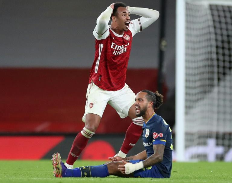 Arsenal's Brazilian defender Gabriel reacts after being sent off