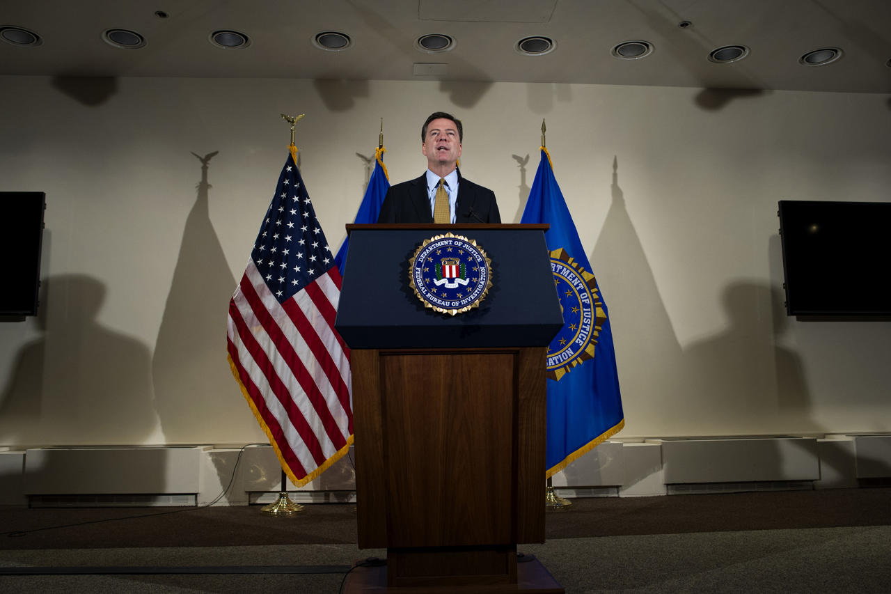 <p>FBI Director James Comey makes a statement at FBI Headquarters in Washington on July 5, 2016. Comey said the FBI will not recommend criminal charges in its investigation into Hillary Clinton's use of a private email server while secretary of state. (AP Photo/Cliff Owen) </p>