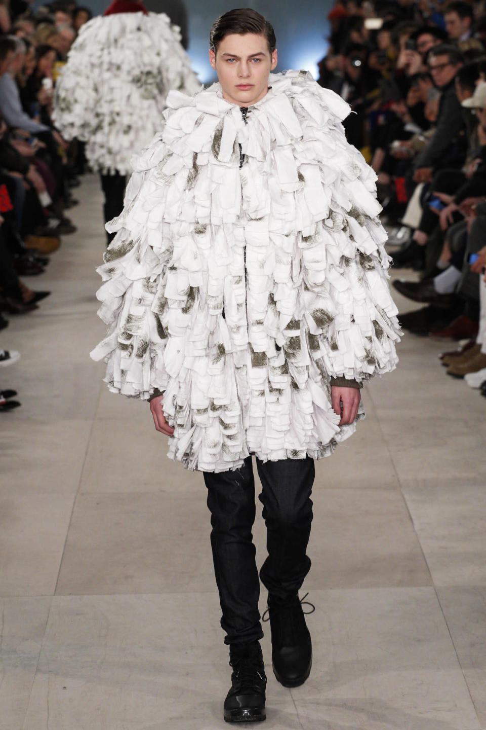 <p>For his finale looks designer, Christopher Raeburn used recycled army snow parkas that created an unusual silloulette that could have been mistaken for a Sesame Street character.<i> Photo: Getty Images</i></p>