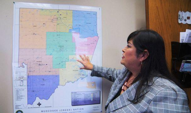 PHOTO: JoEtta Toppah, assistant attorney general of the Muscogee Creek Nation, shows 'Nightline' a map of the tribe's sovereign land. (ABC News)