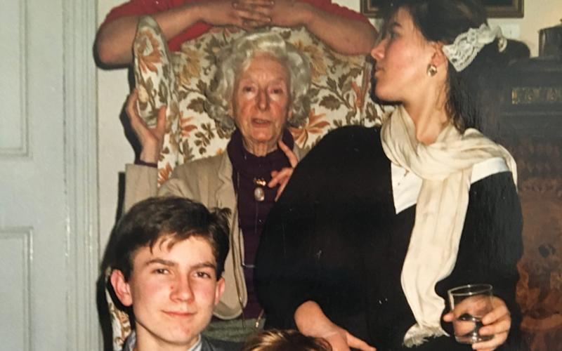 Rowan Pelling with her grandmother and brother Hereward