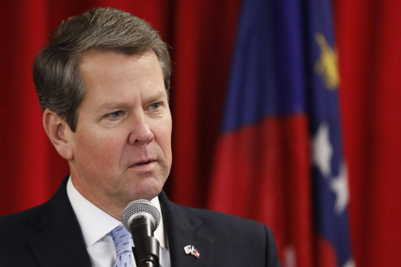 """FILE- In this Dec. 11, 2018 file photo, Georgia Governor elect Brian Kemp speaks at the 31st Biannual Institute of Georgia Legislators at the University of Georgia in Athens Ga. Georgia's new governor campaigned as a self-described """"politically incorrect conservative"""" who sealed support among fellow Republicans with an endorsement from President Donald Trump and eked out a close November victory. (Joshua L. Jones/Athens Banner-Herald via AP, File)"""