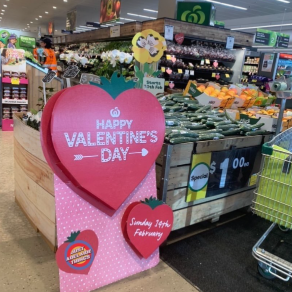 Image of Woolworths Valentines Day display advertising cucumbers as gift