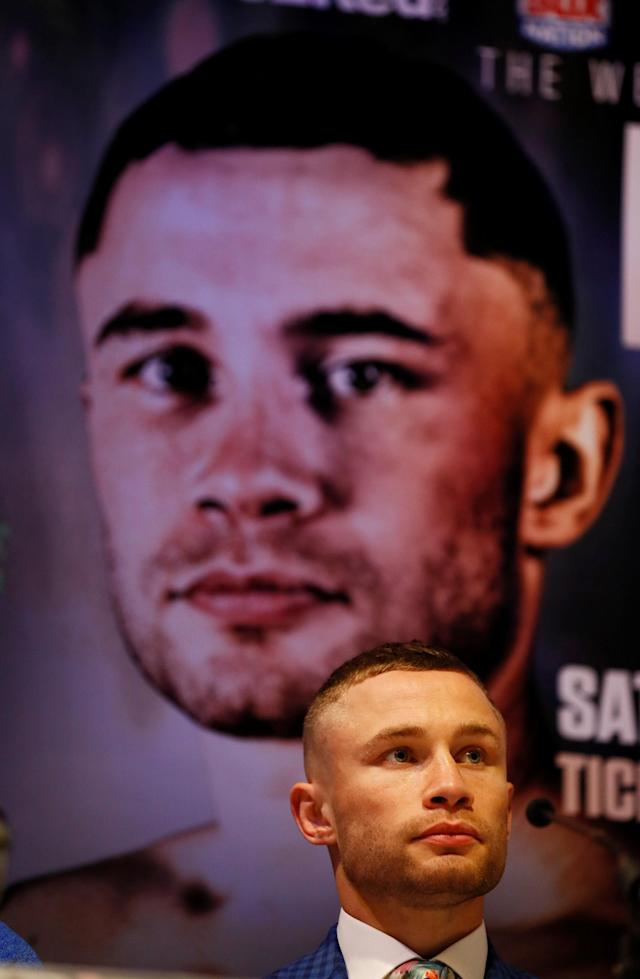 Boxing - Carl Frampton & Nonito Donaire Public Work-Outs - Victoria Square Shopping Centre, Belfast, Britain - April 18, 2018 Carl Frampton during a press conference Action Images via Reuters/Jason Cairnduff