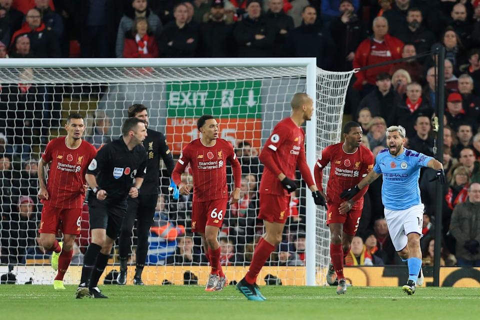Sergio Aguero of Man City appeals to referee Michael Oliver for a hand ball during the Premier League match between Liverpool FC and Manchester City at Anfield on November 10, 2019 in Liverpool, United Kingdom. (Photo by Simon Stacpoole/Offside/Getty Images)