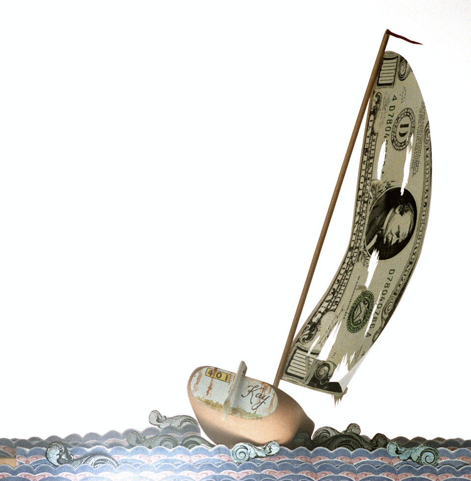 """Craig Pursley color Illustration of sailboat """"401 Kay"""" with tattered sail tossed on monetary waters. (Photo: The Orange County Register/Tribune News Service via Getty Images)"""