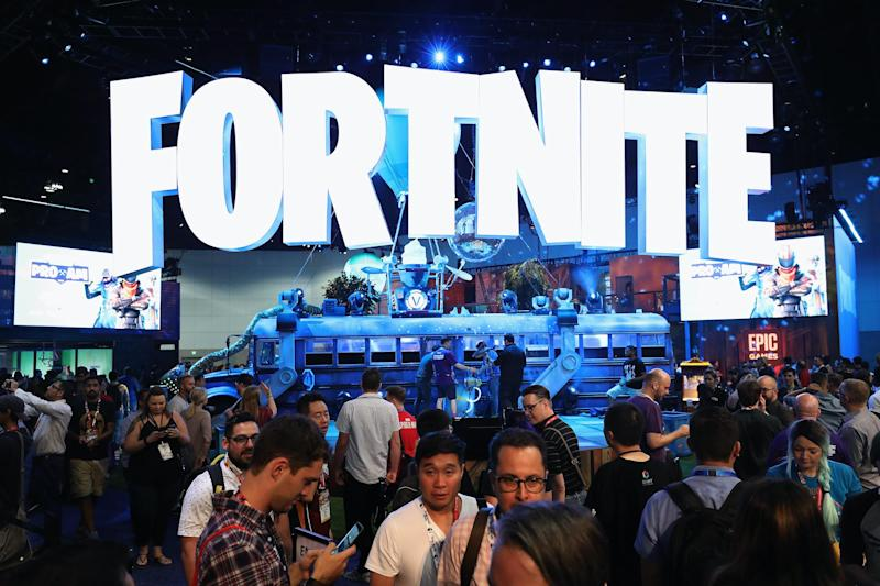 Game enthusiasts and industry personnel visit the 'Fortnite' exhibit during the Electronic Entertainment Expo: Christian Petersen/Getty Images