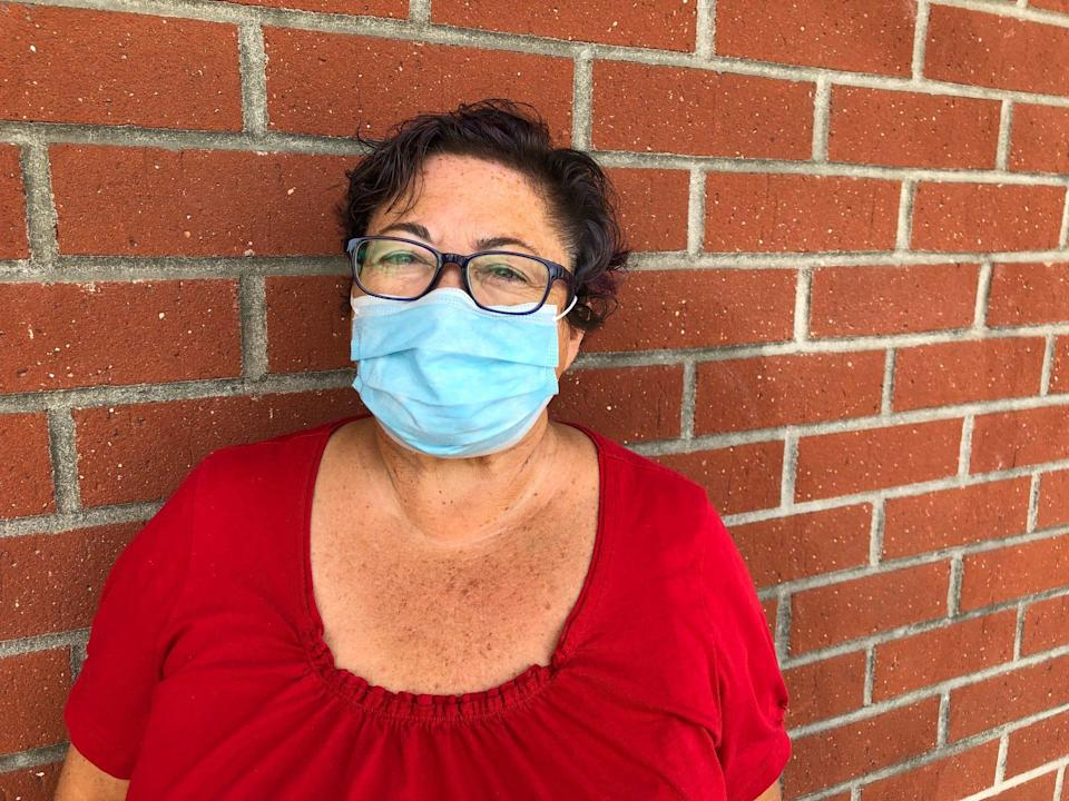 """Jeanine Robbins, 60, Anaheim, a self-employed retail worker: """"Wearing a mask, how difficult is that?...It's not a violation of your rights."""""""