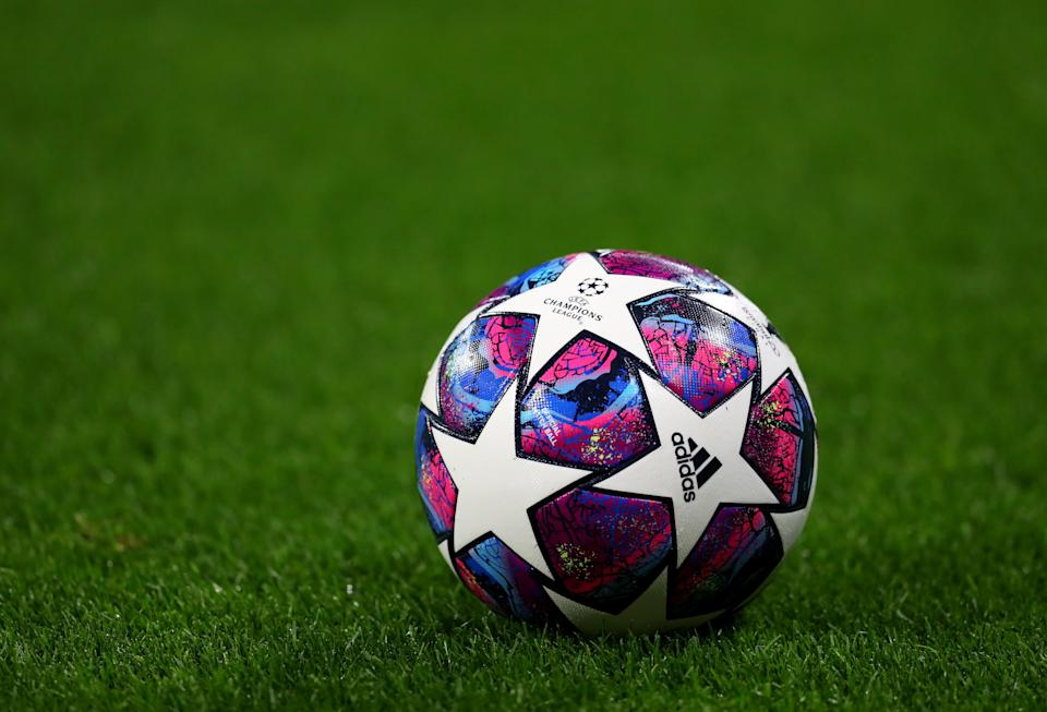 LYON, FRANCE - FEBRUARY 26: View of the Adidas UCL Finale match ball during the UEFA Champions League round of 16 first leg match between Olympique Lyon and Juventus at Parc Olympique on February 26, 2020 in Lyon, France. (Photo by Catherine Ivill/Getty Images)