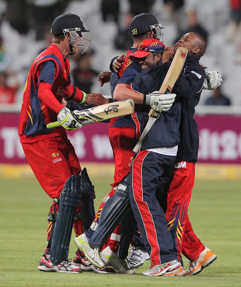 CAPE TOWN, SOUTH AFRCA - OCTOBER 16:  Highveld Lions celebrates their win during the Karbonn Smart CLT20 match between Chennai Super Kings (IPL) and Highveld Lions (South Africa) at Sahara Park Newlands on October 16, 2012 in Cape Town, South Africa.  (Photo by Carl Fourie/Gallo Images/Getty Images)
