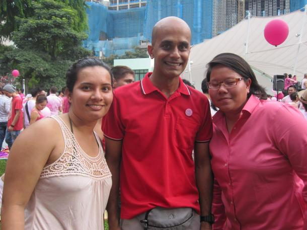 The SDP's Vincent Wijeysingha at Pink Dot with two friends. (Yahoo! photo/Jeanette Tan)