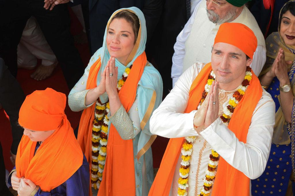 """<p><strong>When: Feb. 21, 2018</strong><br /> Canada's """"first lady"""" Sophie Grégoire Trudeau is on a week-long official trip to India with her family, and all eyes are on what the stunning 42-year-old is wearing. On Wednesday, Sophie and family wore traditional Punjabi clothing as they offered prayers at Amritsar's Golden Temple. <em>(Photo: Getty)</em> </p>"""